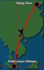Ruta del avión de Malaysia Airlines